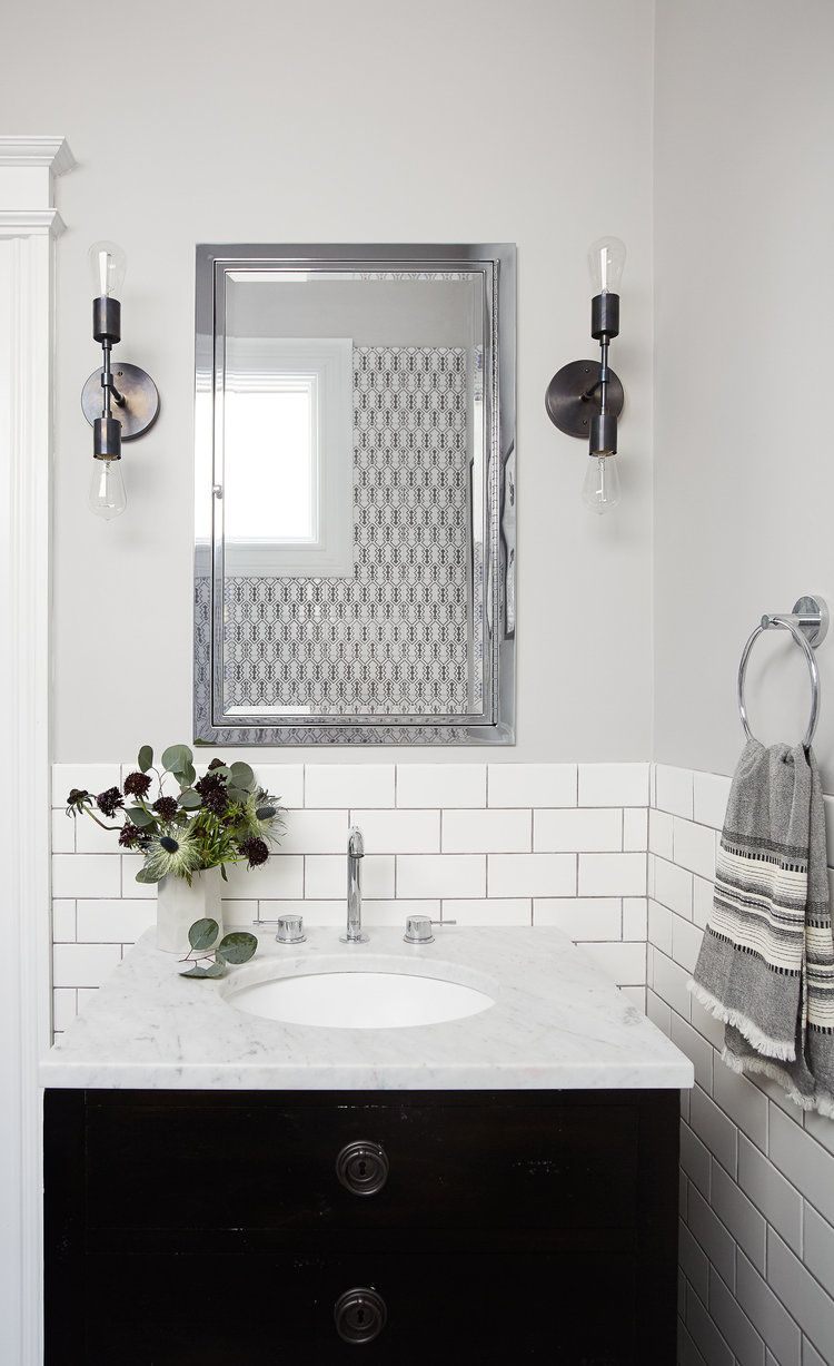 Monochromatic vibes in this black and white bathroom | Lauren Nelson ...