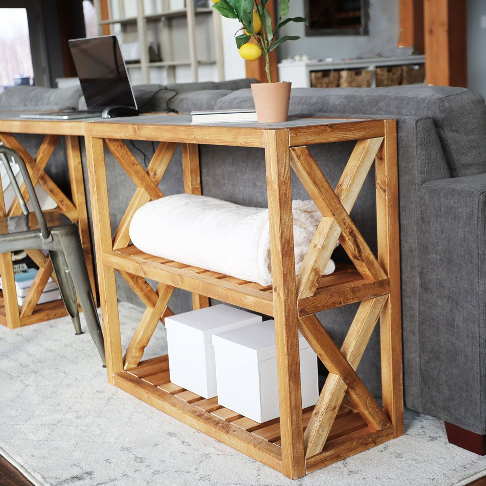 20 Modern Farmhouse Console Table Inspired By Pottery Barn Grove Console Table In 2020 Farmhouse Console Table Modern Farmhouse Table Wood Table Design