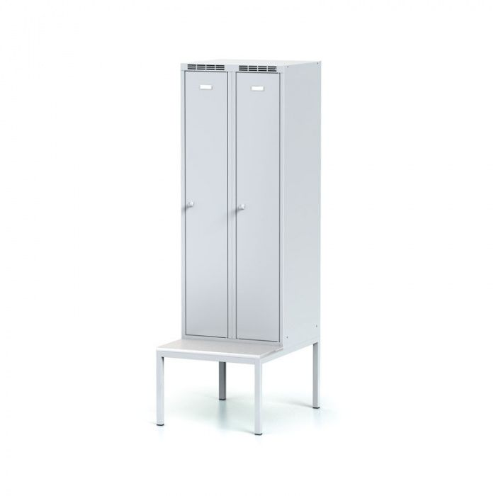 Wardrobe with bench, gray door, cylinder lock
