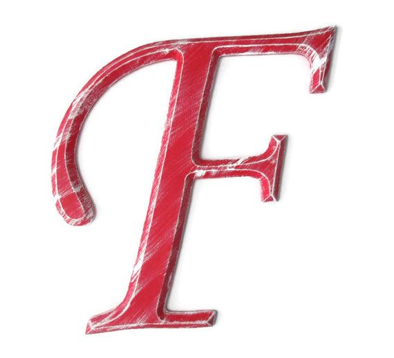 Decorative Letter F Hand Painted Wood In Bright By Fischerfinearts