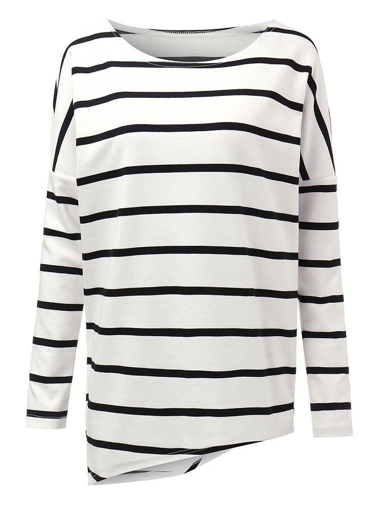 a29d48b723b Casual Asymmetrical Loose Stripe Long Sleeve Women T-Shirt ...
