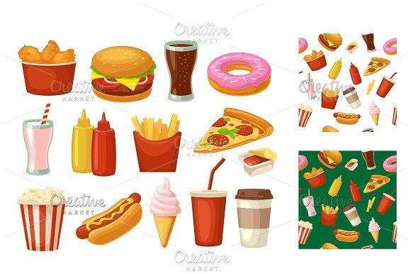 Set Fast Food Icon Cup Cola Chips Burrito Hamburger Pizza Fried