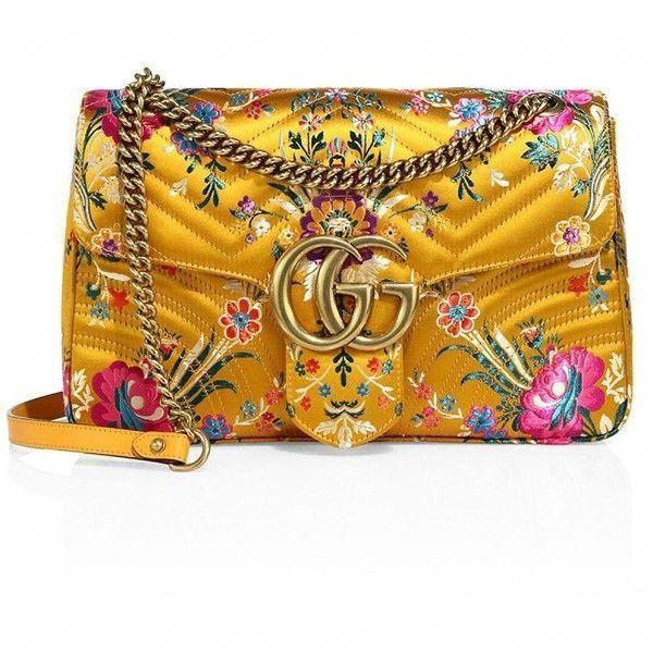028d71fcc806 Gucci Small GG Marmont Matelassé Floral Jacquard Chain Shoulder Bag  ($1,790) ❤ liked on