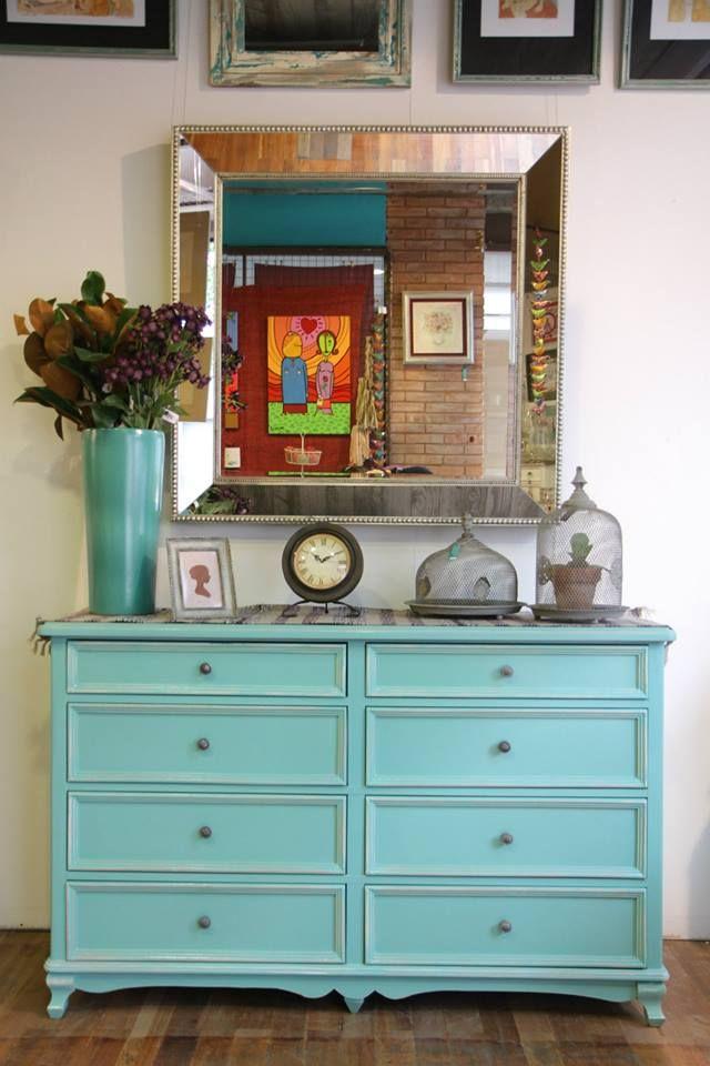 Mueble estilo antiguo 8 cajones, turquesa Espejo 1mx1m Objetos de ...