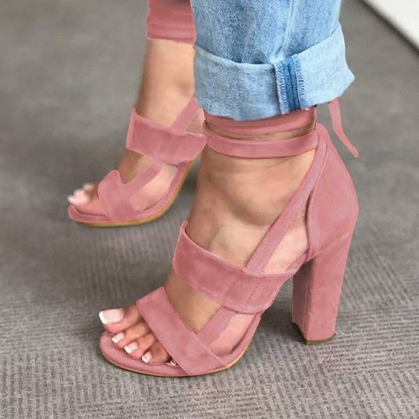 52d08ef7272 Women s Lace Up Chunky Block Heeled Sandals Ankle Strap High Heels ...