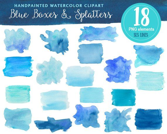 Blue Watercolor Boxes And Shapes Watercolor Clipart Blotches And