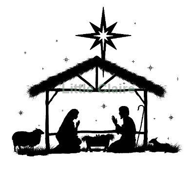 away in a manger Silhouette Clip Art | Christmas Nativity ...