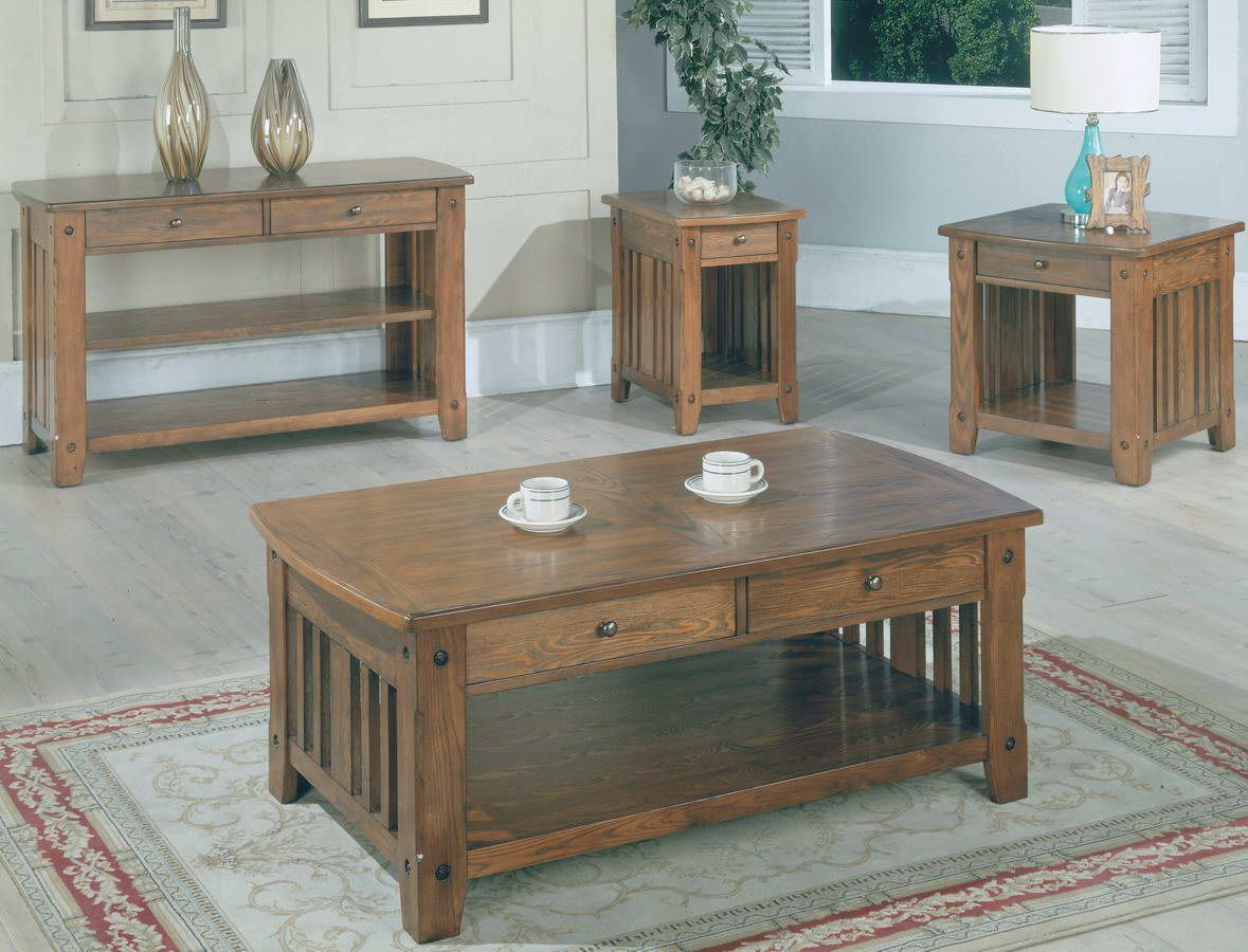 Parker House Table Series 13 Occasional Set Style Ranch Oak Finish Distressed Dark