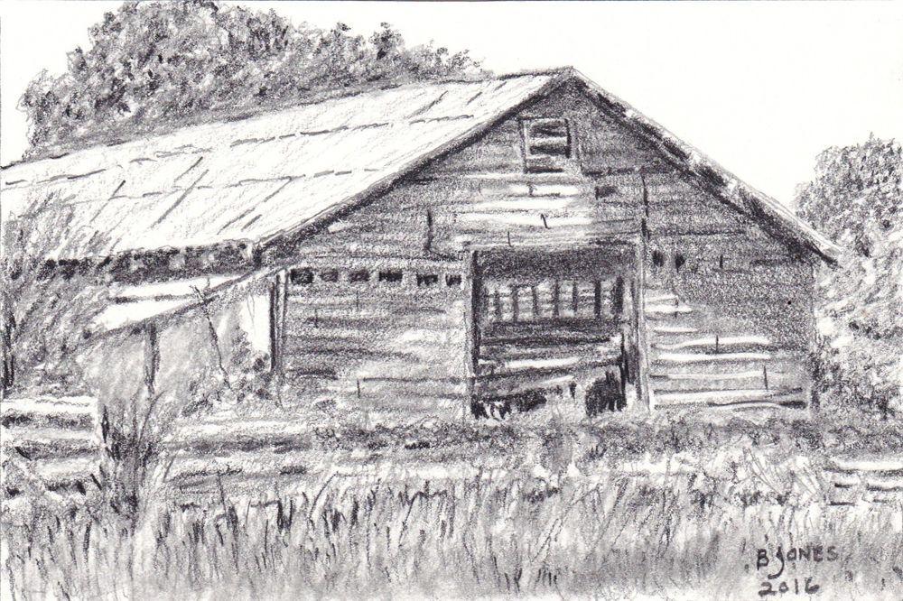 Original Rustic Barn Graphite Pencil Drawing 4X6 Inch OSWOA