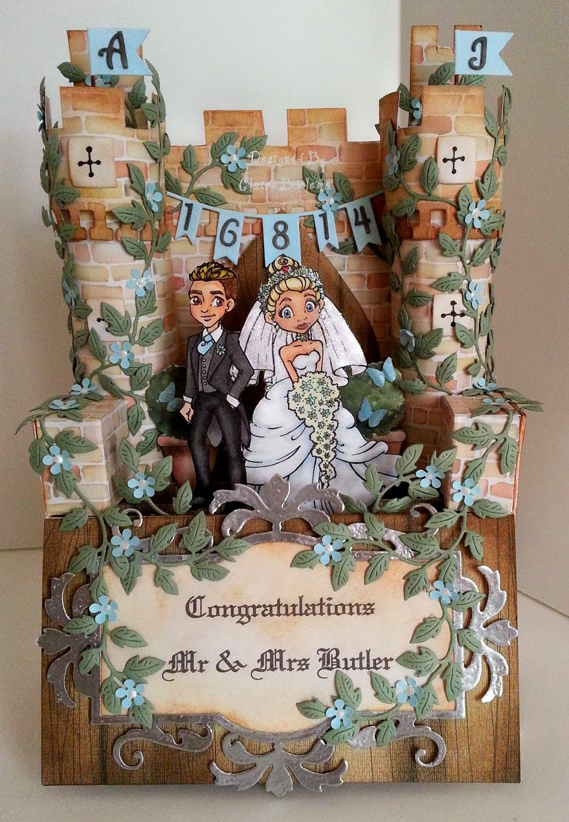 Fairytale castle wedding card make the turrets square for it to