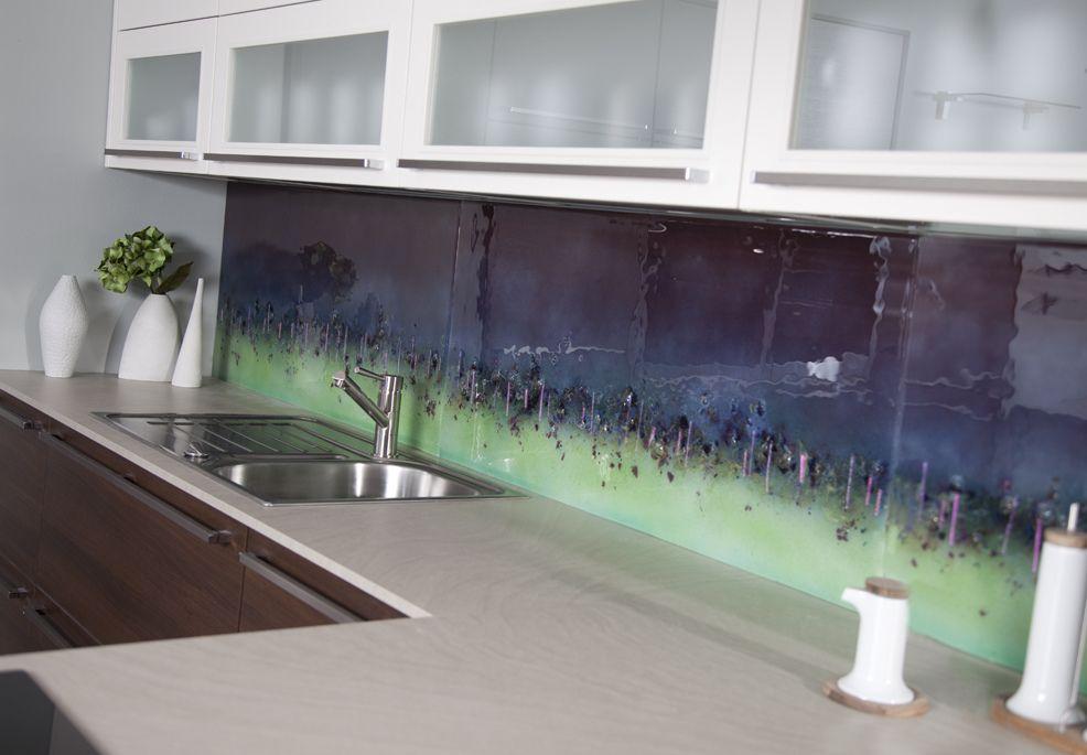 Purple Cityscape Fused Glass Splashback