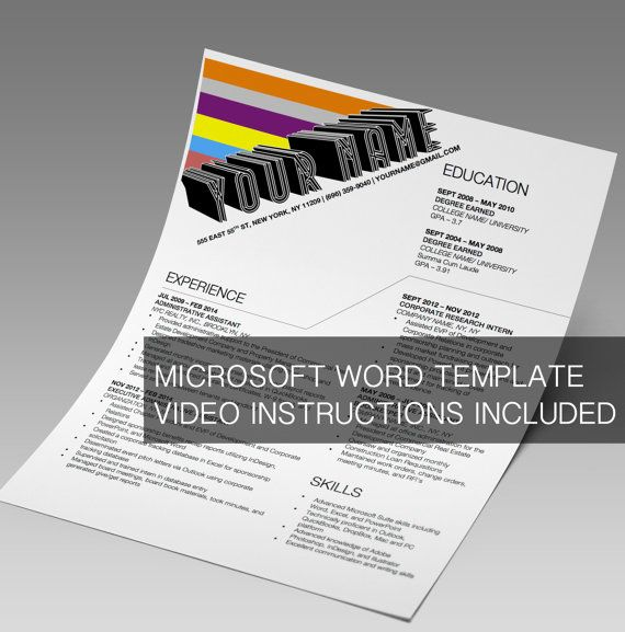 Retro Modern Resume Design Microsoft Word Template - Instant - resume microsoft word template