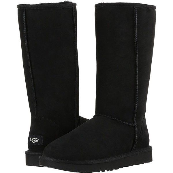 UGG Classic Tall II (Black) Women's Boots ($200) ❤ liked on Polyvore featuring shoes, boots, mid-calf boots, black low heel boots, tall boots, black mid ...