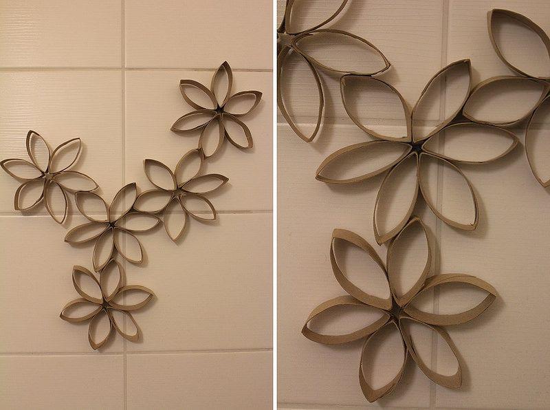 Vessapaperirullista tehtyjä kukkia