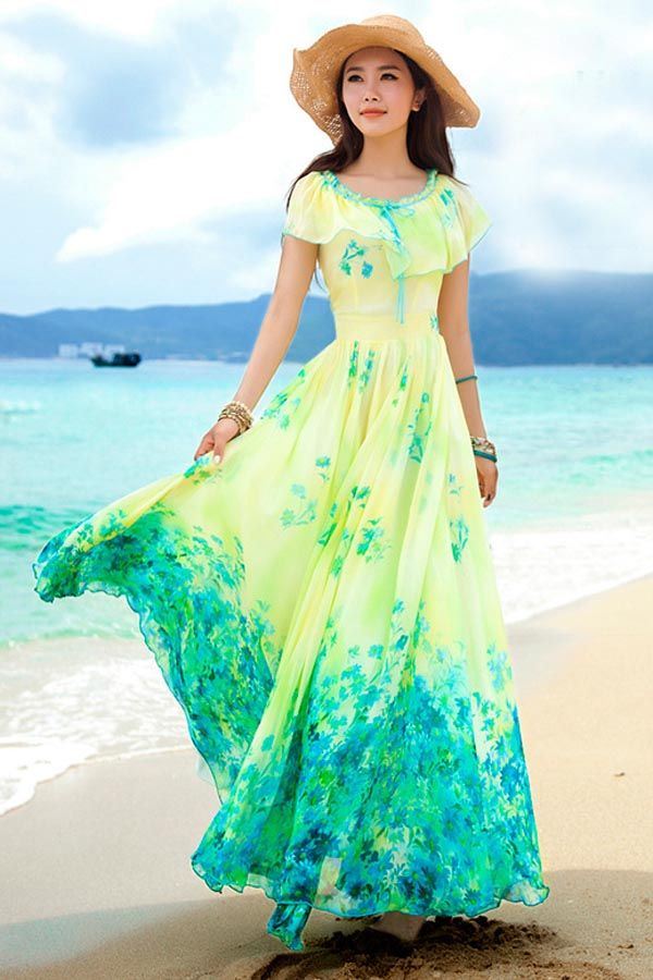 Yellow Floral Print Ruffle Overlay Chiffon Maxi Dress #Yellow ...