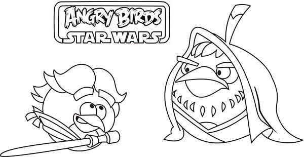 Coloring Luke Skywalker Respect For Obi Wan Kenobi Angry Birds Star Wars With Kids N Fun