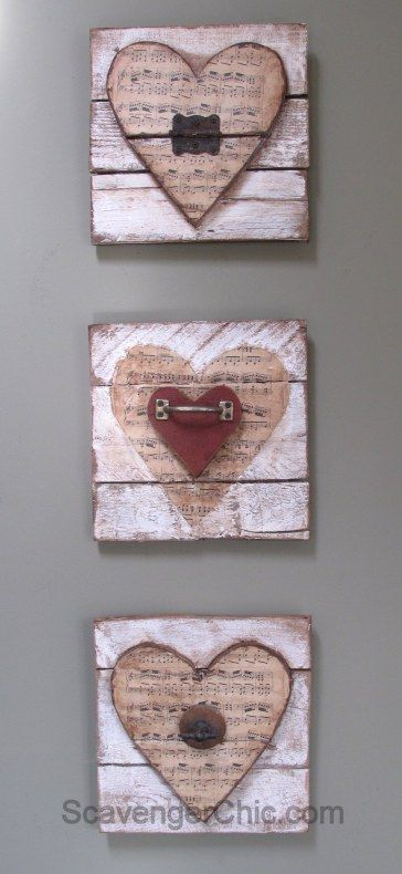Valentine Wooden Heart Pallet Wood Vintage Sheet Music And Rusty Junk Upcycle Valentine Wood Crafts Sheet Music Crafts Wooden Hearts Crafts