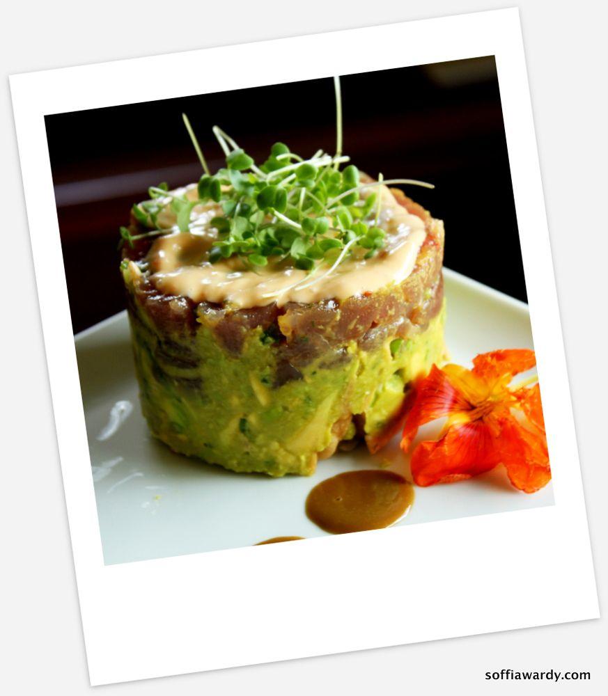 Ahi poke stack with avocado salsa soffia wardy recipe