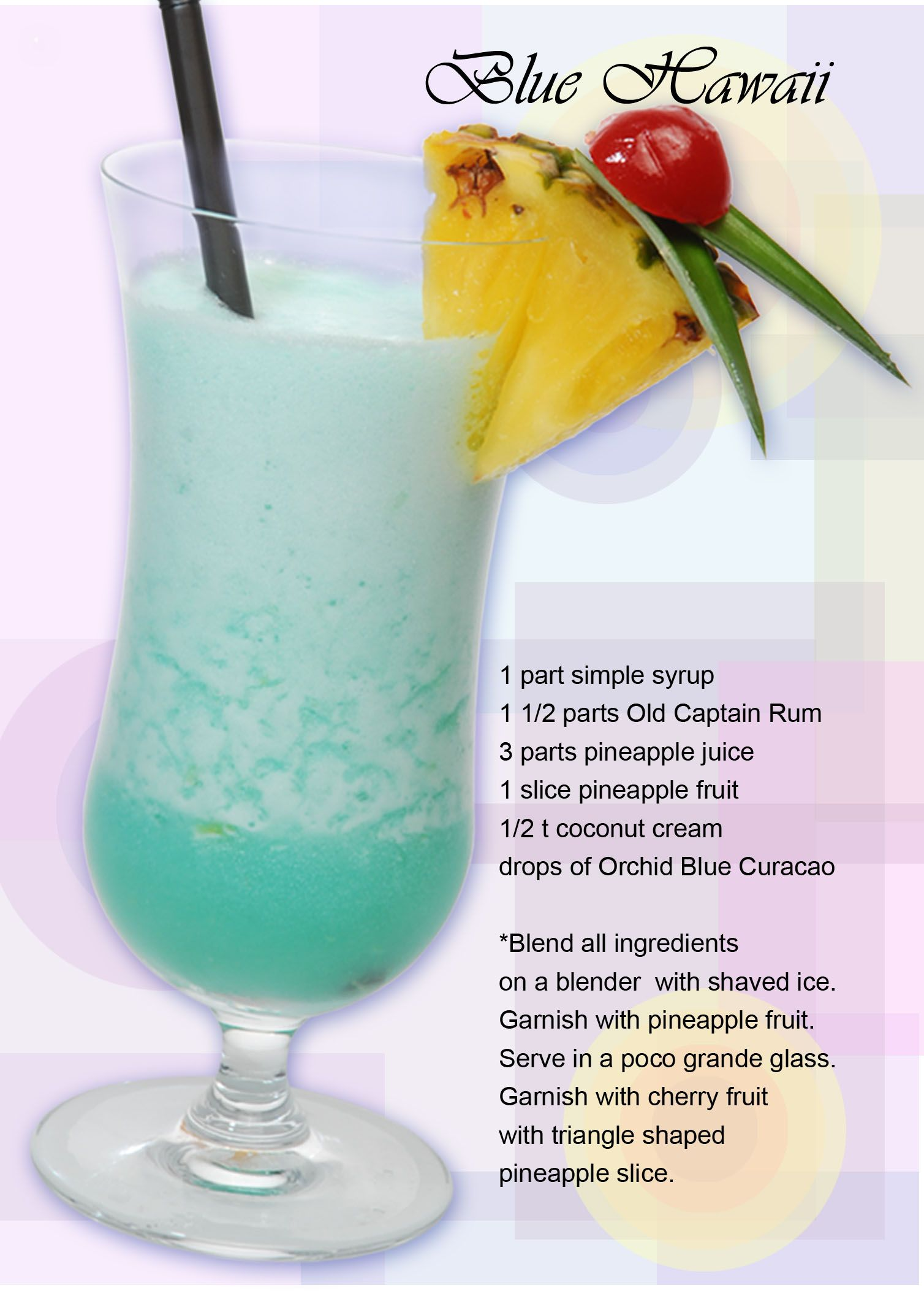 Blue Hawaii ~ Ingredients: 1 part simple syrup 1 1/2 part Old ...
