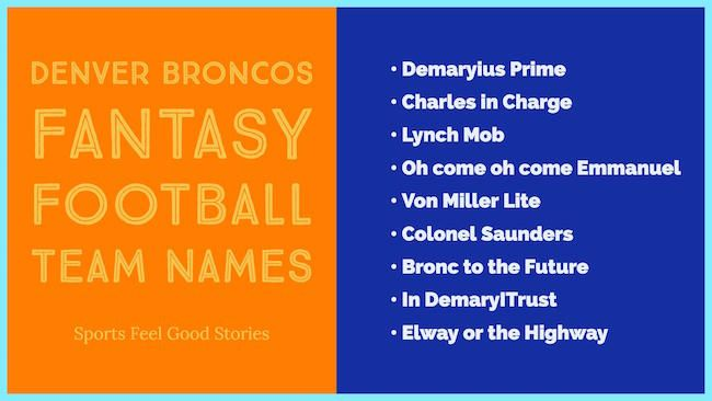 Broncos Fantasy Football Team Names Denver And The Nfl Football Team Names Team Names Fantasy Football
