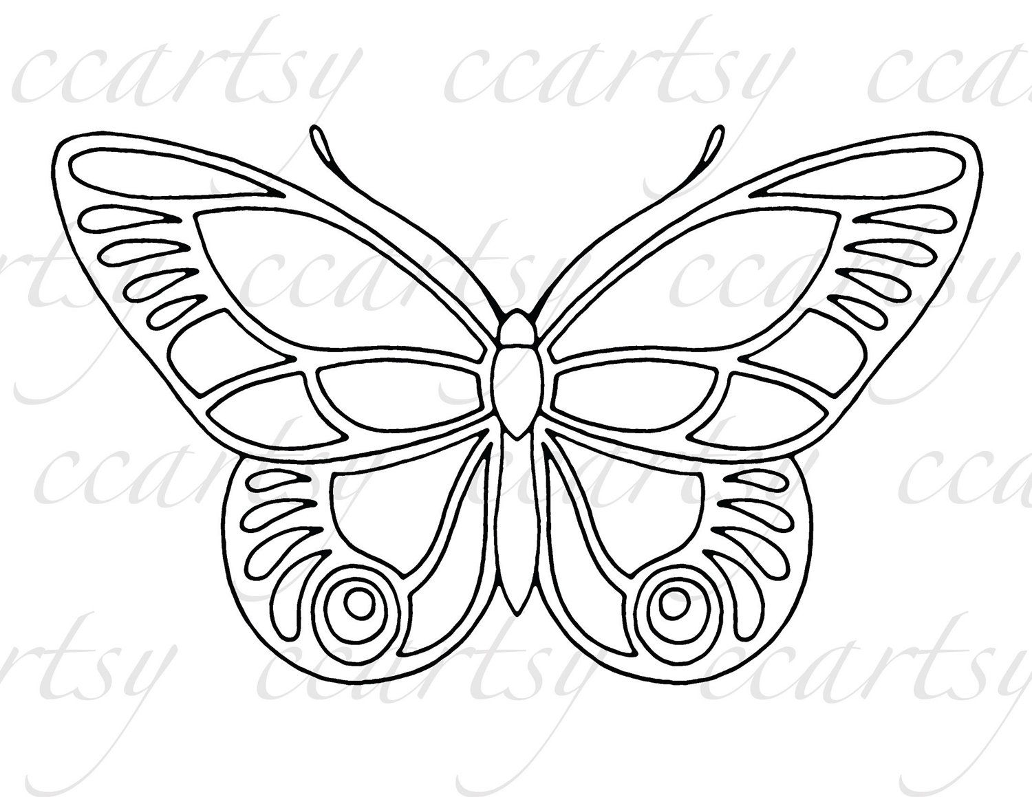 Beautiful Butterfly Printable Coloring Page C By Ccartsy On Etsy 1 50