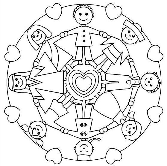 Holding Hands Mandala For Kids Gladis Article Coloring Pages