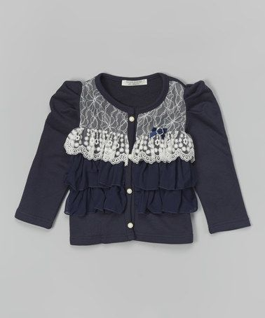 20e10f35fea0 Another great find on  zulily! Navy   White Lace Ruffle Cardigan ...