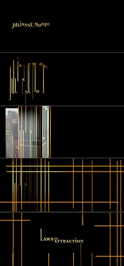 Julianne Moore's credit transforms into a grid, and into the Main Title. Stills from the Laws of Attraction title sequence.