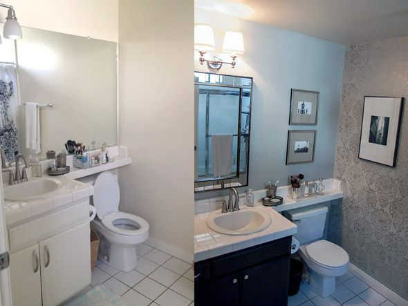 Small bathroom makeovers before and after before - Before and after small bathroom remodels ...