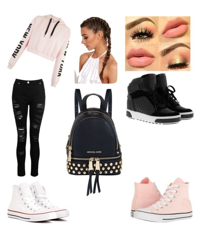 Pink and khors by stella101045 on Polyvore featuring polyvore, fashion, style, Dorothy Perkins, MICHAEL Michael Kors, Converse and clothing