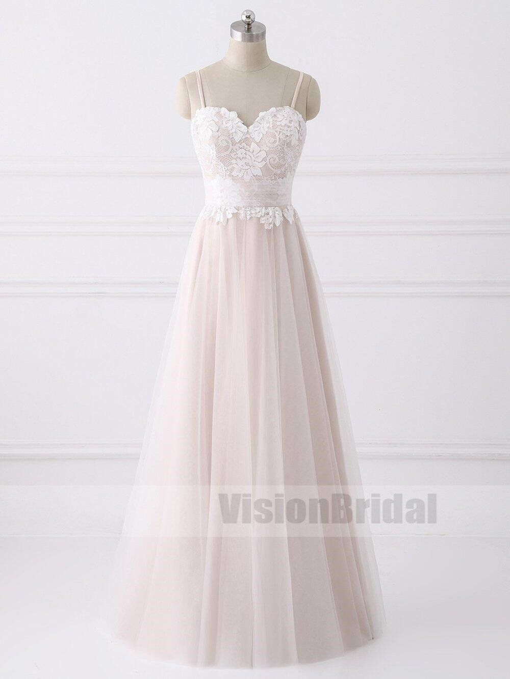 Lovely spaghetti straps sweetheart aline cheap wedding dresses