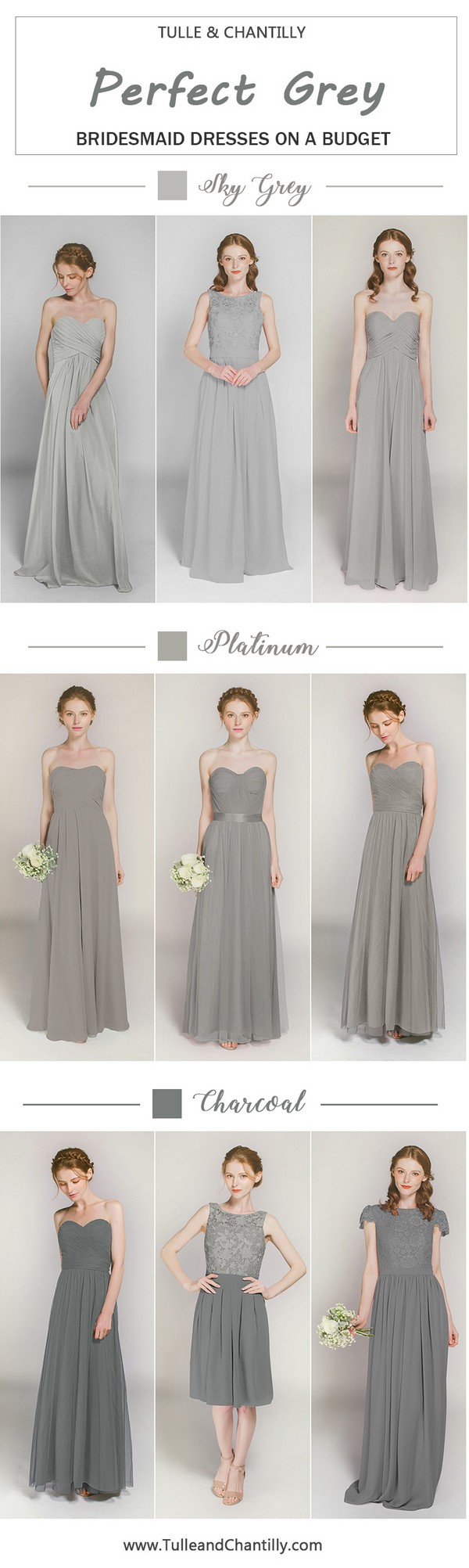 Sky gray long u short bridesmaid dresses from in size and