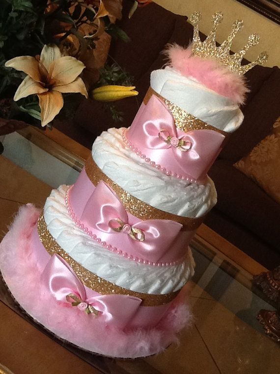 Princess Diaper Cake/Pink And Gold Diaper Cake/Princess Baby Shower  Centerpiece/Girl Diaper Cake/