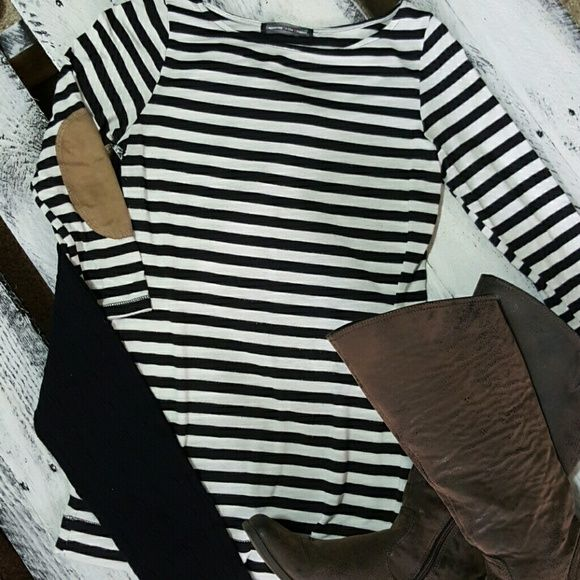 Striped top w/ patches on elbows Black and white striped top. 3/4 length sleeves. Some minor piling (in pic). No stains or tears. Size tag is cut out, but it is a small. Tops