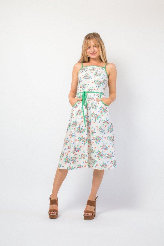 e6def7b36950 On sale Vintage 70s sundress LANZ original floral midi dress white sundress  pocket dress 70s does 50