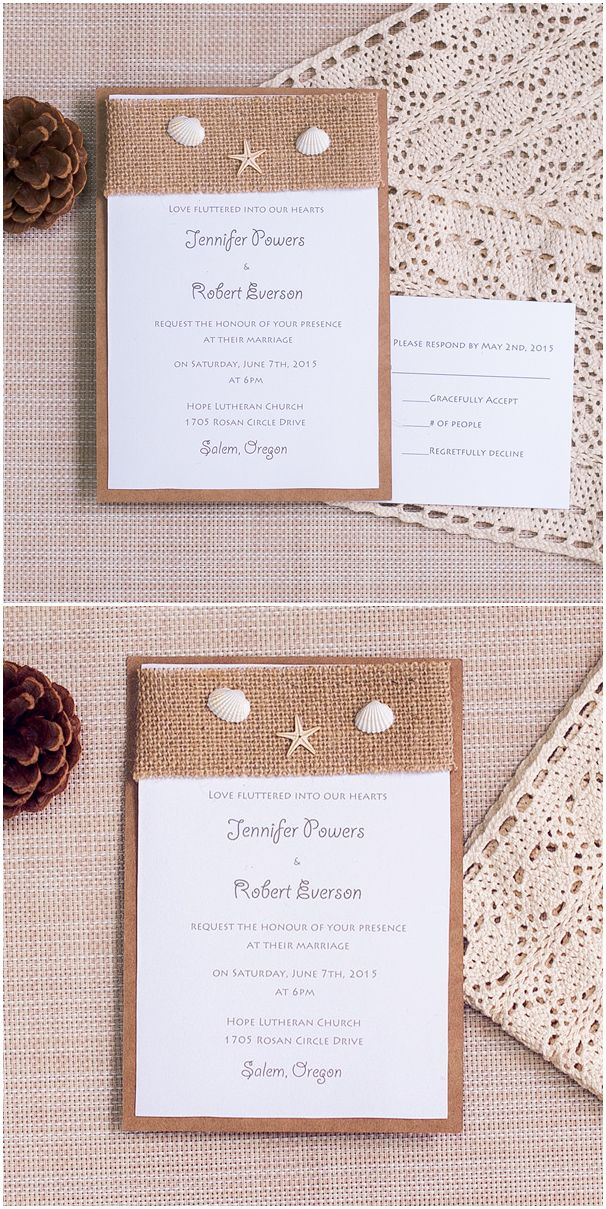 burlap layered rustic beach wedding invitations with