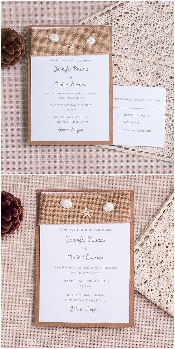 burlap layered rustic beach wedding invitations with