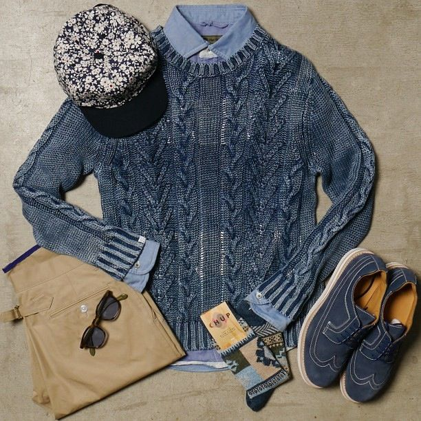 Nigel cabourn Oxford. Deluxe cable knit sweater. Be positive shoes. Nanamica chinos.