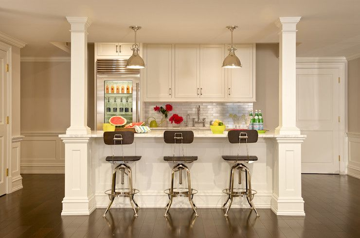 basement kitchenette features white shaker cabinets paired with