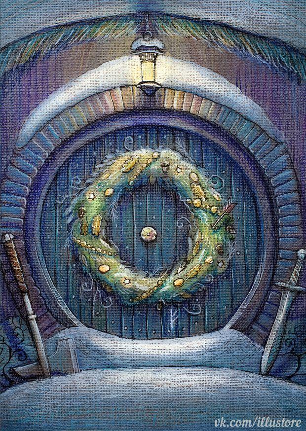 Hobbit Christmas Card by nokeek door entrance wreath ...