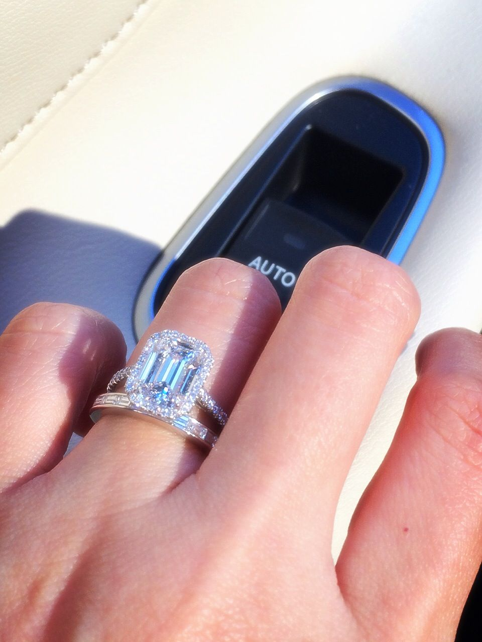 Tiffany & Co. soleste with an emerald cut halo diamond, color E,VVS1 ...