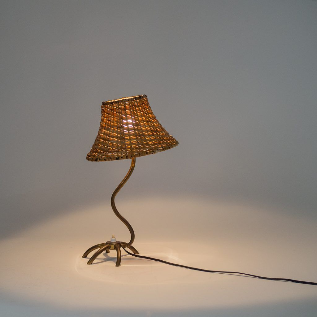 French Brass Zoomorphe Table Lamp 1950s Mdrn Lampe Lampentisch 60er
