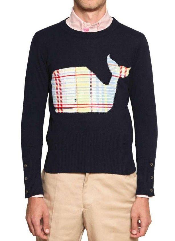 THOM BROWNE Striped detail cashmere jumper RQWNQV