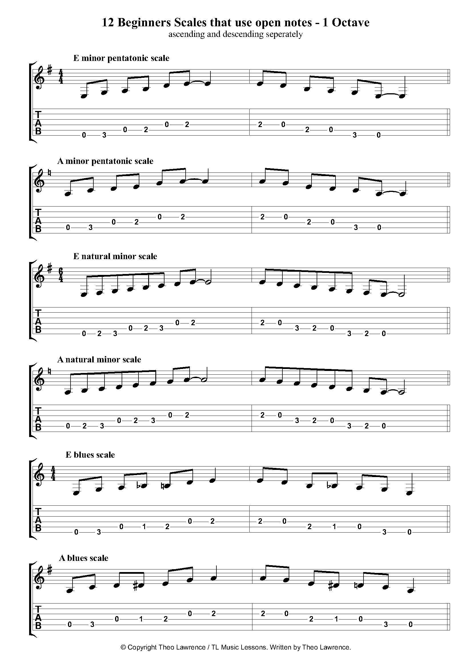 12 Beginners 1 Octave Open Scales - ascending and descending
