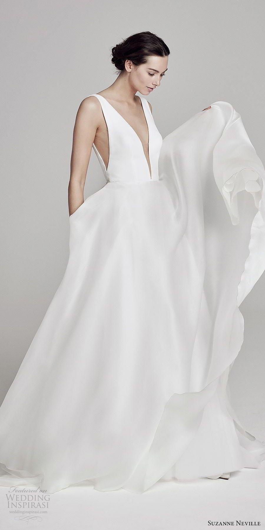 91c47b0610d suzanne neville bridal 2019 sleeveless plunging v neck a line wedding dress  (serrano) clean chic modern minimal mv -- Suzanne Neville 2019 Wedding  Dresses ...
