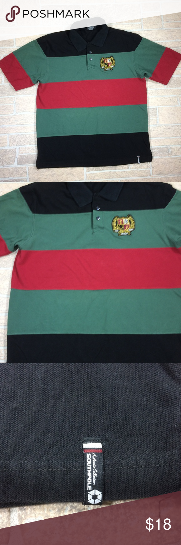 afdfaa11d0 South Pole Striped Short Sleeve Cotton Polo Great condition Clean No stains  Smoke pet free Cotton Fits more like an XL Approximate measurements 23  width 30 ...