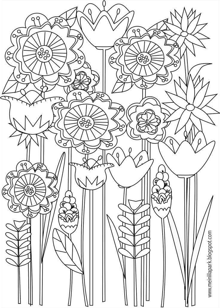 Free Printable Floral Coloring Page Ausdruckbare Malseite Freebie Spring Coloring Pages Spring Coloring Sheets Flower Coloring Pages