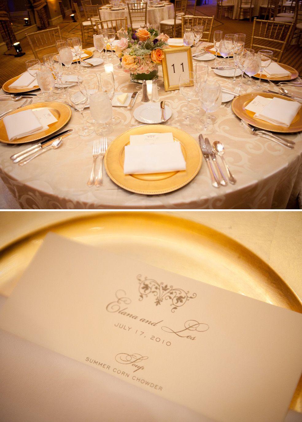 Four Seasons Hotel Wedding Reception Gold White Decor Menu Jpg 984 1 375 Pixels Gold Wedding Reception Hotel Wedding Receptions White Wedding Decorations
