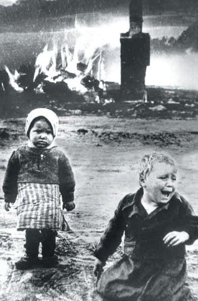 Russian children caught in the Blitz.