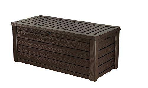 Keter Westwood Plastic Deck Storage Container Box Outdoor Patio Garden  Furniture 150 Gal Brown
